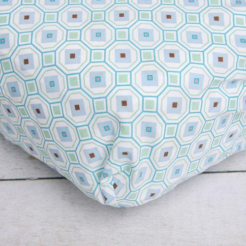 Caden Lane Blue Octagon Crib Sheet