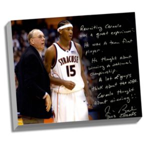 "Steiner Sports Syracuse Orange Jim Boeheim Recruiting Carmelo Facsimile 22"" x 26"" Stretched Story Canvas"