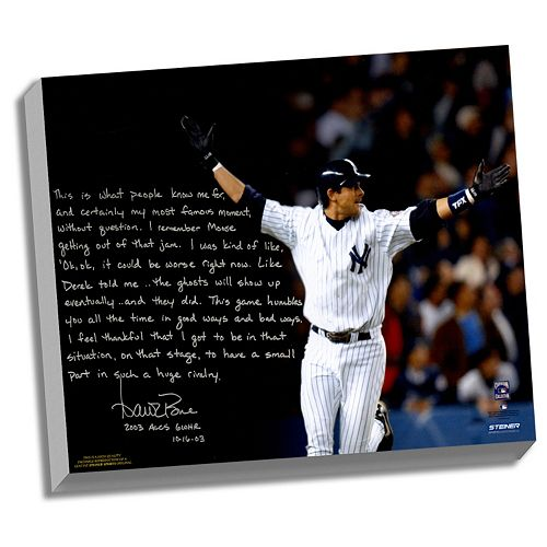 Steiner Sports New York Yankees Aaron Boone 2003 ALCS Game 7 Walk-Off Facsimile 22 x 26 Stretched ...