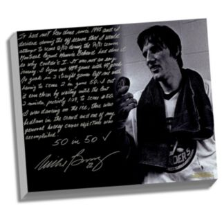 """Steiner Sports New York Islanders Mike Bossy 50 Goals in 50 Games Facsimile 22"""" x 26"""" Stretched Story Canvas"""