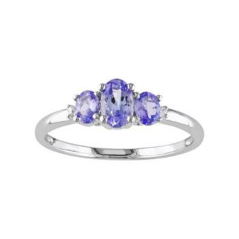 Stella Grace Tanzanite & Diamond Accent 10k White Gold 3-Stone Ring