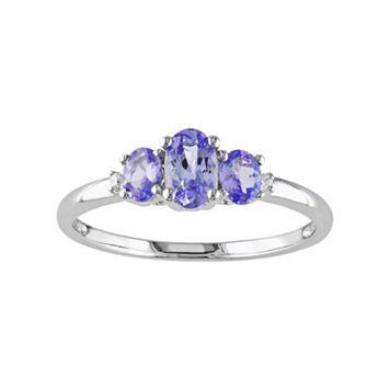 Tanzanite & Diamond Accent 10k White Gold 3-Stone Ring