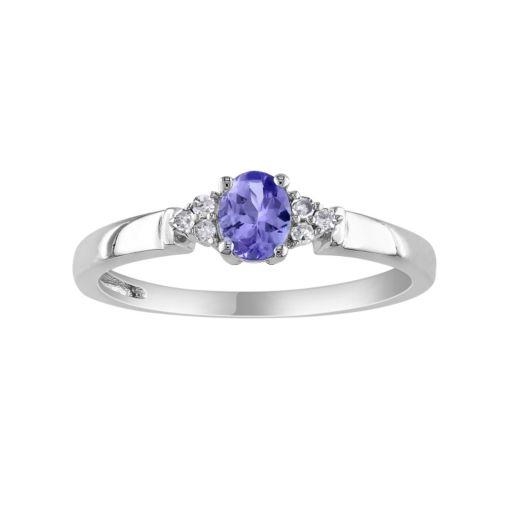 Stella Grace Tanzanite & Diamond Accent 10k White Gold Oval Ring