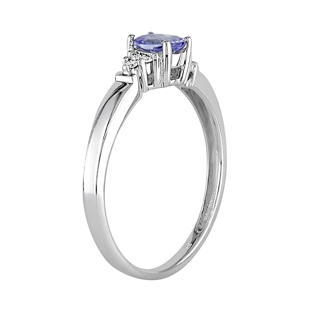 Tanzanite & Diamond Accent 10k White Gold Oval Ring
