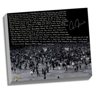 """Steiner Sports New York Yankees Chris Chambliss 1976 ALCS Walk-Off Home Run Facsimile 22"""" x 26"""" Stretched Story Canvas"""