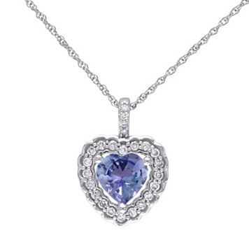 Tanzanite & 1/6 Carat T.W. Diamond 10k White Gold Heart Pendant Necklace