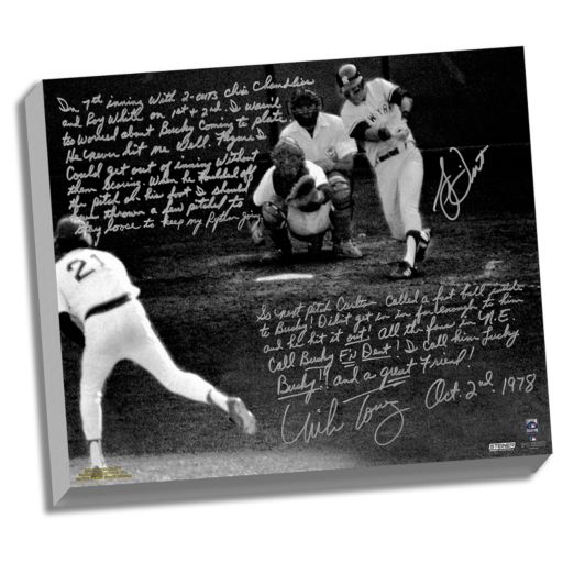 "Steiner Sports Bucky Dent and Mike Torrez 1978 Walk-Off Home Run Facsimile 22"" x 26"" Stretched Story Canvas"