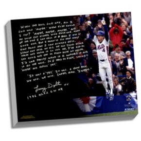 "Steiner Sports New York Mets Lenny Dykstra 1986 NLCS Walk-Off Home Run Facsimile 22"" x 26"" Stretched Story Canvas"