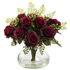 nearly natural Rose & Maiden Hair Floral Arrangement