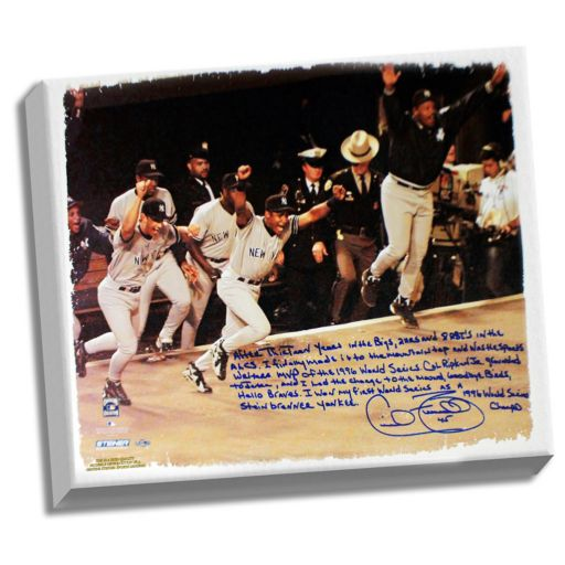 """Steiner Sports New York Yankees Cecil Fielder 1996 World Series Facsimile 22"""" x 26"""" Stretched Story Canvas"""