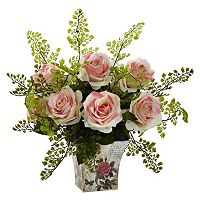 nearly natural Rose & Maiden Hair Floral Planter