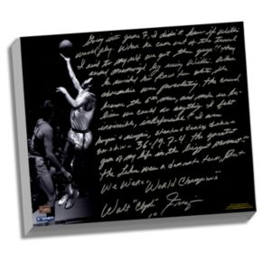 """Steiner Sports New York Knicks Walt Frazier The Willis Reed Game Facsimile 22"""" x 26"""" Stretched Story Canvas"""