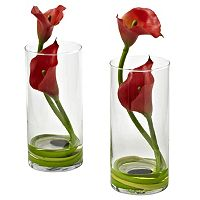 nearly natural 2 pc Double Calla Lily Flower Set