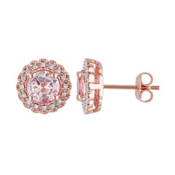 Morganite & Diamond Accent Pink Rhodium-Plated Sterling Silver Halo Stud Earrings