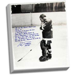 """Steiner Sports Detroit Red Wings Eddie Giacomin Returning to MSG Facsimile 22"""" x 26"""" Stretched Story Canvas"""
