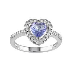 Tanzanite & 1\/5 Carat T.W. Diamond 10k White Gold Heart Ring by