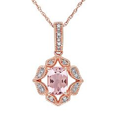 Morganite & Diamond Accent 10k Rose Gold Pendant Necklace