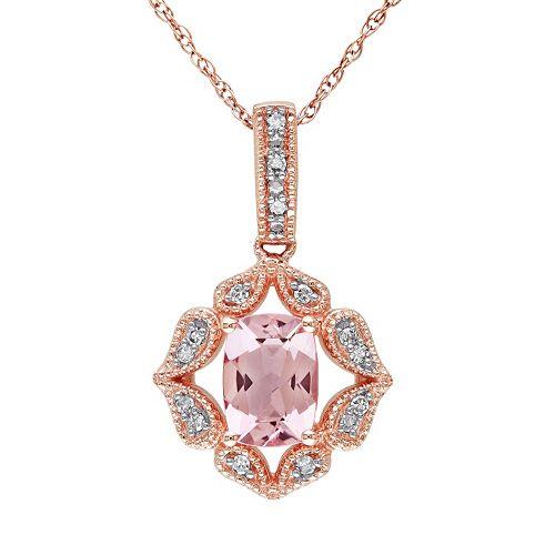Stella Grace Morganite & Diamond Accent 10k Rose Gold Pendant Necklace
