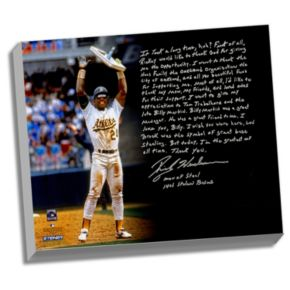 """Steiner Sports Oakland Athletics Rickey Henderson Stolen Base Record Facsimile 22"""" x 26"""" Stretched Story Canvas"""