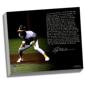 """Steiner Sports Oakland Athletics Rickey Henderson World Series Earthquake Facsimile 22"""" x 26"""" Stretched Story Canvas"""