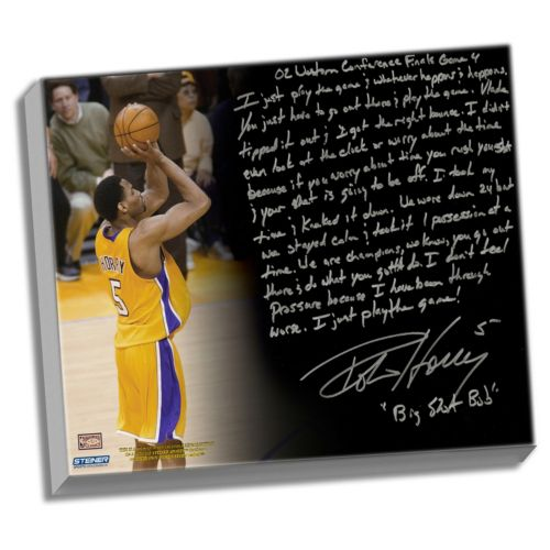 Steiner Sports Los Angeles Lakers Robert Horry Big Shot Rob Facsimile 22 x 26 Stretched Story Canv...