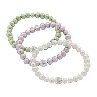 Dyed Freshwater Cultured Pearl & Crystal Stretch Bracelet Set