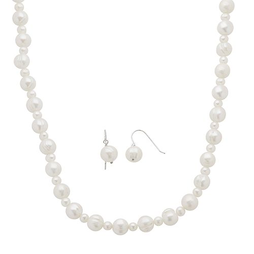 Sterling Silver Freshwater Cultured Pearl Necklace & Drop Earring Set
