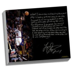 """Steiner Sports New York Knicks Larry Johnson 4-Point Play Facsimile 22"""" x 26"""" Stretched Story Canvas"""