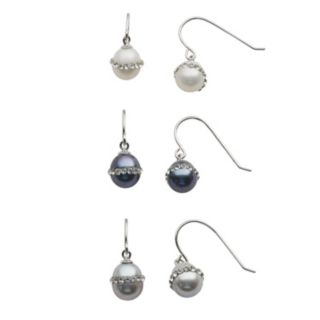 Sterling Silver Dyed Freshwater Cultured Pearl and Crystal Drop Earring Set