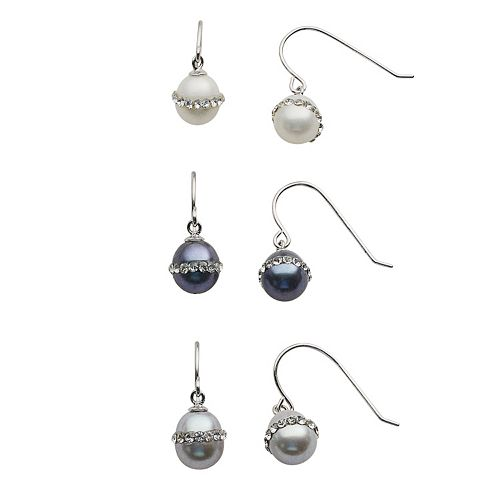 Sterling Silver Dyed Freshwater Cultured Pearl & Crystal Drop Earring Set