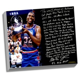 "Steiner Sports Los Angeles Lakers Magic Johnson First Game Back Facsimile 22"" x 26"" Stretched Story Canvas"