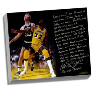 "Steiner Sports Los Angeles Lakers Magic Johnson My Friend Larry Bird Facsimile 22"" x 26"" Stretched Story Canvas"