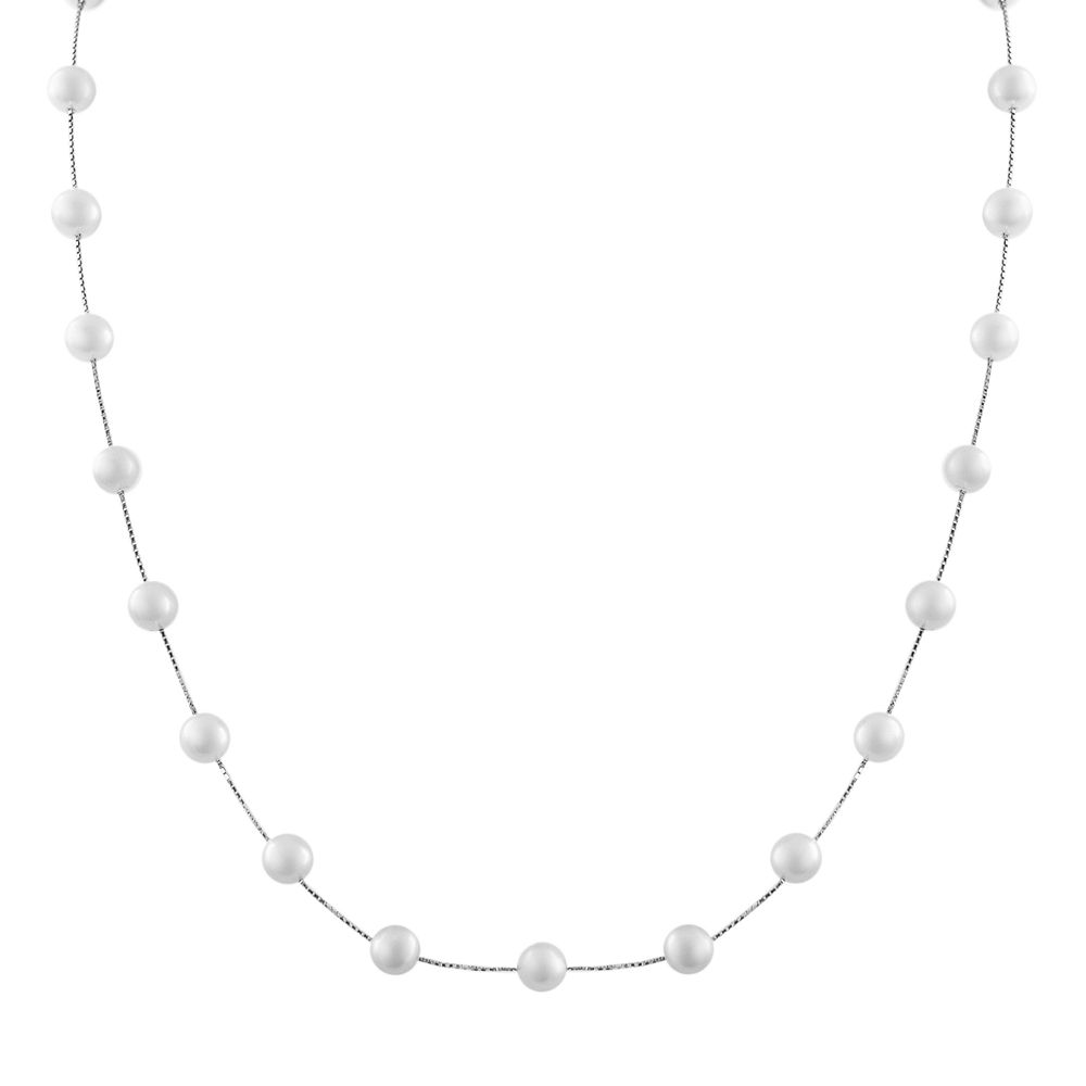 PearLustre by Imperial 10k White Gold Freshwater Cultured Pearl Station Necklace
