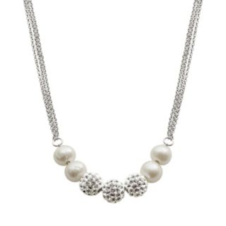 Sterling Silver Freshwater Cultured Pearl and Crystal Bead Necklace