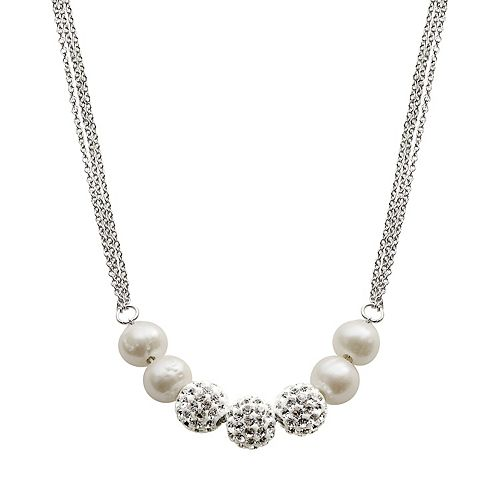 Sterling Silver Freshwater Cultured Pearl & Crystal Bead Necklace