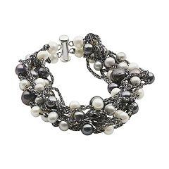 Sterling Silver Dyed Freshwater Cultured Pearl Torsade Bracelet