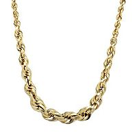 Everlasting Gold 10k Gold Graduated Rope Chain Necklace - 18 in