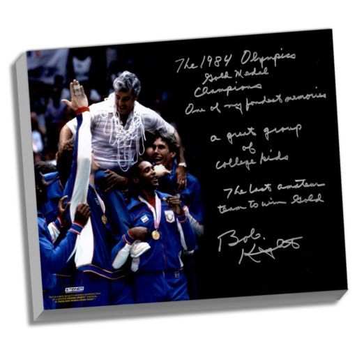 """Steiner Sports Indiana Hoosiers Bob Knight Winning Olympic Gold Facsimile 22"""" x 26"""" Stretched Story Canvas"""