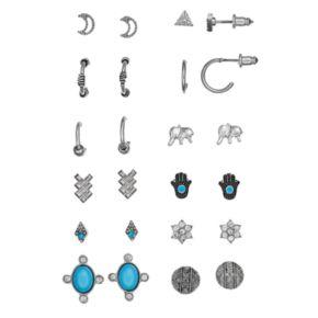 Mudd® Moon, Kite, Triangle, Flower, Elephant, Hamsa & Disc Stud & Hoop Earring Set