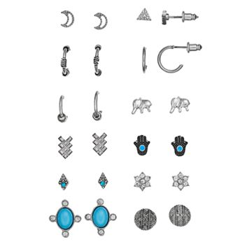 Mudd® Moon, Kite, Triangle, Flower, Elephant, Hamsa & Disc Stud & Hoop Earring Set