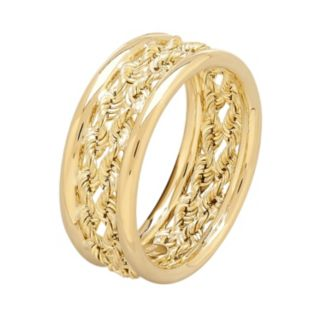 Everlasting Gold 10k Gold Double Rope Ring