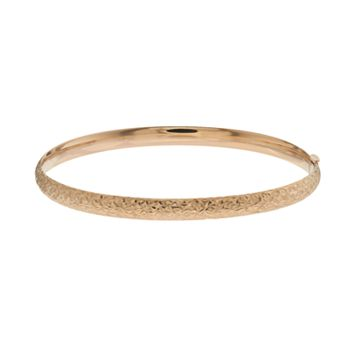 Everlasting Gold 10k Gold Textured Hinged Bangle Bracelet