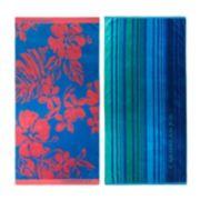 Caribbean Joe 2-pk. Hibiscus & Cool Ombre Stripe Beach Towels