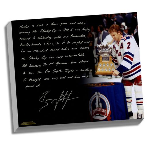 """Steiner Sports New York Rangers Brian Leetch 1st American Conn Smythe Winner Facsimile 22"""" x 26"""" Stretched Story Canvas"""