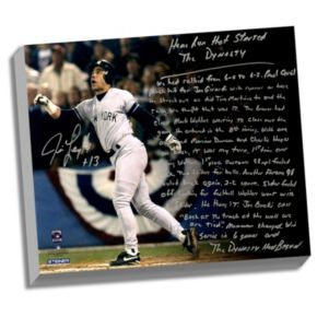 """Steiner Sports New York Yankees Jim Leyritz Dynasty Home Run Facsimile 22"""" x 26"""" Stretched Story Canvas"""