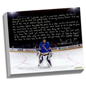 """Steiner Sports New York Rangers Henrik Lundqvist Playing in the Garden Facsimile 22"""" x 26"""" Stretched Story Canvas"""
