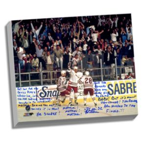 "Steiner Sports New York Rangers Stephane Matteau 1994 Game 7 Game-Winning Goal Commentary Facsimile 22"" x 26"" Stretched Story Canvas"