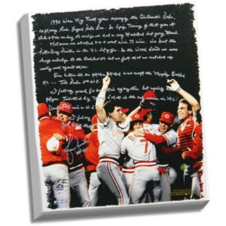 """Steiner Sports Lou Piniella Reds World Series Facsimile 22"""" x 26"""" Stretched Story Canvas"""