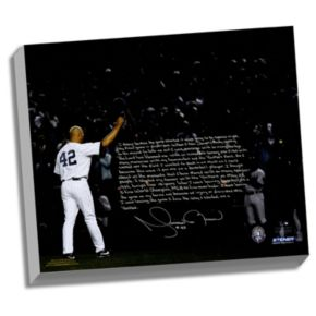 """Steiner Sports New York Yankees Mariano Rivera Last Game in Pinstripes Facsimile 22"""" x 26"""" Stretched Story Canvas"""