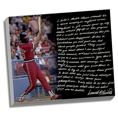 Steiner Sports Cleveland Indians Frank Robinson 1st Black Manager Facsimile 22 x 26 Stretched Stor...